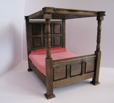 Bed, double,Tudor Canopy , undressed  a dollhouse miniature in twelfth scale came today, hooray