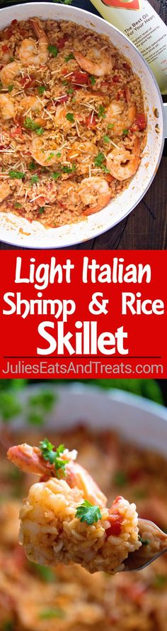 Light Italian Shrimp & Rice Skillet Recipe ~ Easy, One Pot Meal that's Full of Flavor! This has it all from Garlic, to Shrimp, Rice and Italian Tomatoes! This is the Perfect Dinner Ready in 30 Minutes! #ad: http://www.julieseatsandtreats.com/light-italian-shrimp-rice-skillet-recipe/