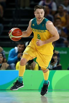 #RIO2016 Matthew Dellavedova of Australia moves the ball during a Preliminary Round Basketball game between Australia and the United States on Day 5 of the...