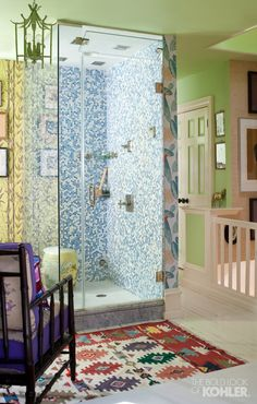 Madcap Cottage designers Jason Oliver Nixon and John Loecke are crazy about color, even when it comes to the custom shower in their Brooklyn brownstone. (Featuring the Pinstripe line of bathroom fixtures.)