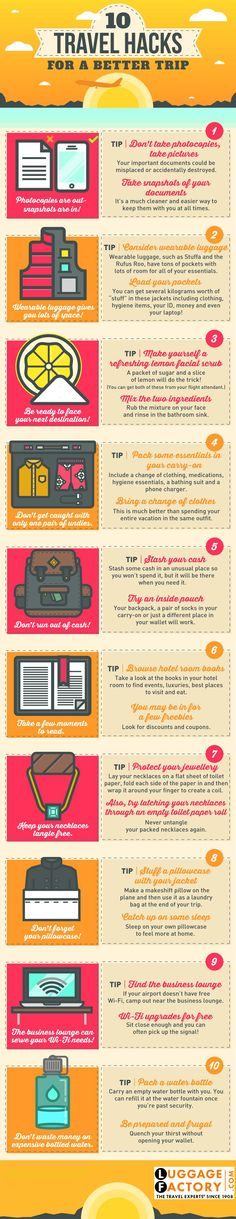 http://www.luggagefactory.com Travel Hacks for a better trip #travel #trip