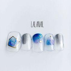 #nail#japanesenail #kawaii#kawaiinails #ニュアンスネイル#ニュアンスカラー#塗りかけネイル#メタリックネイル#空色ネイル#星空ネイル#最近塗りかけとホイルとワイヤーにはまってます