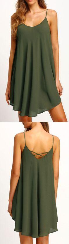 2716938490 Army Green Asymmetrical Criss Cross Back Spaghetti Strap Sundress  sundress  Casual Dresses