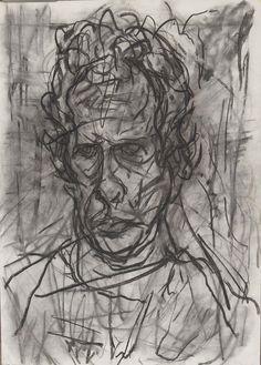 Auerbach Self Portrait 1997 Charcoal on Paper 18 x 14 / 46 x 36
