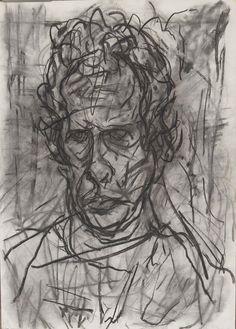 Auerbach Self Portrait 1997 Charcoal on Paper 18 x 14 / 46 x 36