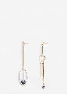 Metal pendant earrings | MANGO