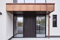 Find your door inspiration with Urban Front's picture gallery. Easily filter hundreds of images & enquire about your dream door today. Door Canopy Modern, Front Door Canopy, Modern Door, Porch Canopy, Porch Designs Uk, Cool House Designs, House Front Porch, Front Porch Design, Glass Porch