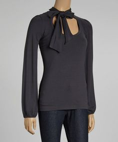Take a look at this Dark Gray Scoop Neck Top & Scarf by DEPT on #zulily today!