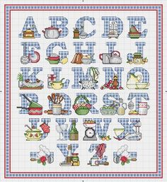 Cross-stitch Kitchen ABCs ... no color chart available, just use the pattern chart as your color guide.. or choose your own colors... Solo Patrones Punto Cruz (pág. 1229) | Aprender manualidades es facilisimo.com