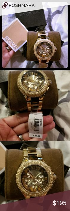 Mi Model # MK5901  **New** Michael Kors women's oversize Camille gold tone glitz chronograph bracelet watch, brand new with tag, never been worn.   This lustrous piece features polished finish gold tone stainless steel bracelet tortoise acetate center links, tortoise dial with gold accents, and golden Swarovski crystals set on the top ring. Item comes w/ tags, and original box! Michael Kors Accessories Watches