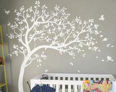 Large nursery wall decoration White tree wall decals Nursery