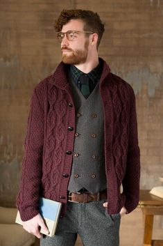 Auburn Cardigan by Irina Anikeeva is a standout menswear garment that will probably be envied by all. The complicated tweed, leather-based buttons, cultured cables, and diverse textures mix professorial and hipster model Mens Cable Knit Cardigan, Knit Cardigan Pattern, Sweater Knitting Patterns, Baby Cardigan, Sweater Cardigan, Men Sweater, Cardigan For Men, Pullover Sweaters, Cardigans