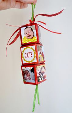 DIY Baby Photo Block Christmas Ornament! See 25 super creative DIY holiday ornaments on www.prettymyparty.com.