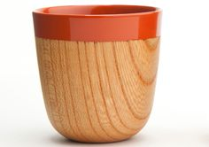"""Expresso or sake cup. The coloured section is made from Japanese lacquer """"URUSHI"""".  Made by """"Chanto"""", a brand of products manufactured in an artisanal way."""