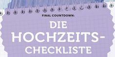 Mit dieser Hochzeits-Checkliste haben angehende Bräute alle wichtigen Termine im Blick! www.brilliant-looks.de