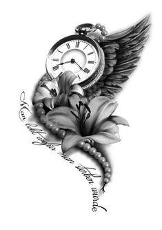 Výsledek obrázku pro clock tattoo designs