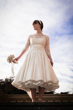 Josie, 50s style wedding dress by Lizzie Jayne, love the lace bodice-could put one over my dress to wear in future