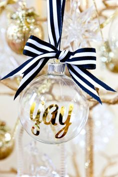 DIY personalized Christmas ornaments! So easy and cute as gifts. Write your name, a cute phrase, the year, monogram, etc!