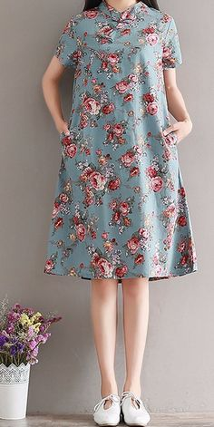 women loose dress tunic fashion chic Women loose fitting retro rose flower plate buckle ethnic dress midi tunic chic you can. Trendy Dresses, Simple Dresses, Casual Dresses, Chic Outfits, Dress Outfits, Dress Up, Vestidos Vintage, Vintage Dresses, Mode Russe