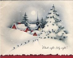 Vintage Christmas Card - Village in the Snow