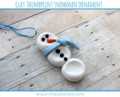 MichaelsMakers Lines Across: Clay Thumbprint Snowman Ornament