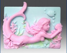 2D Silicone Soap Mold - Mermaid Wendy with Fish  - free shipping