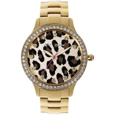Betsey Johnson Leopard Print Dial Watch ($145) ❤ liked on Polyvore