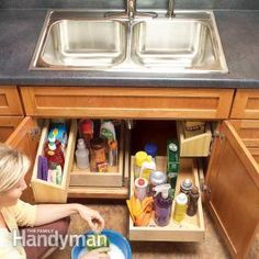 Build these handy roll-out trays in a weekend and create extra storage space under the kitchen sink.