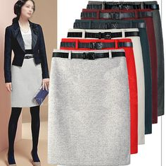 a68b2757e4d New Arrival Fashion Large Size Autumn Winter Package hip Woolen Skirts OL  Pencil Skirt