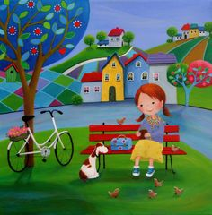 """""""Ulla's Lunch"""", by © Iwona Lifsches, 2015 Acrylic on canvas, 40x40 cm"""