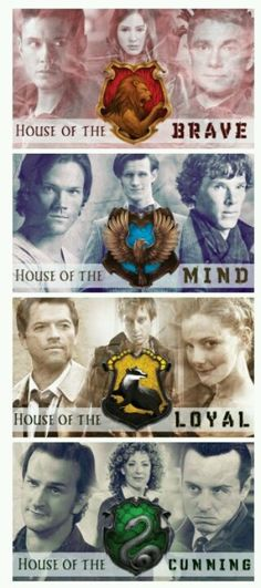 Doctor Who,Supernatural and Sherlock sorted into houses. I've never seen Supernatural, but I love Doctor Who and Sherlock Doctor Who, Pokemon, Dc Anime, The Lord, Fandom Crossover, Never Be Alone, Fandoms Unite, Rose Tyler, Sherlock Holmes