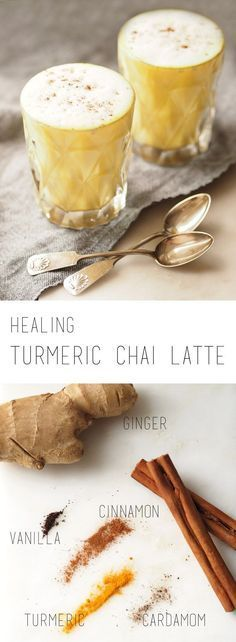 Healthy Snacks Healing turmeric chai latte (vegan, sweet and spicy) - A healing turmeric chai latte with ginger, cinnamon and cardamom. The perfect drink to fight the flu or to enjoy on a cold day. Yummy Drinks, Healthy Drinks, Healthy Snacks, Yummy Food, Spicy Drinks, Nutritious Meals, Healthy Recipes, Smoothie Drinks, Smoothie Recipes