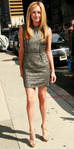 Look of the Day › August 7, 2011 WHAT SHE WORE Deeley exited the Late Show with David Letterman studio in a metallic Lanvin shift and strappy platforms.