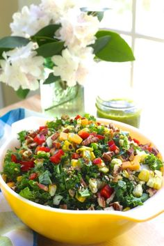 Chopped Kale and Roasted Corn Salad with Cilantro Lime Vinaigrette