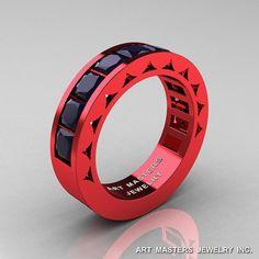 mens modern italian 14k red gold princess dark blue sapphire channel cluster sun wedding ring r274 - Red Wedding Rings