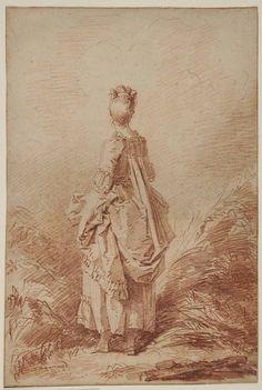 Jean-Honoré FRAGONARD, Jeune femme debout, en pied, vue de dos. Sanguine, légère préparation à la pierre noire, 37x25cm. Musée des Beaux Arts, Orléans © cliché François Lauginie