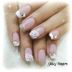 3d french gel nail bridal design - Google Search