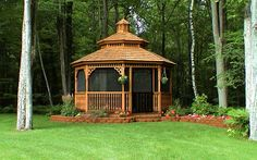 A beautiful screened gazebo that offers solice and peace of mind