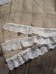 "burlap and lace placemats...""to add some farmhouse shabby chic to your dining room table."""