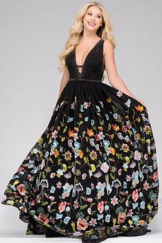 Black Embellished Bodice with Plunging Neckline Prom Ballgown 48091
