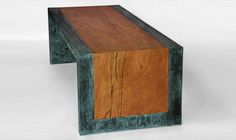 Inlaid Birch and Concrete Coffee Table