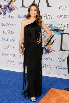 New mom Olivia Wilde hit the red carpet in black fringe.                  Source: Getty / Dimitrios Kambouris