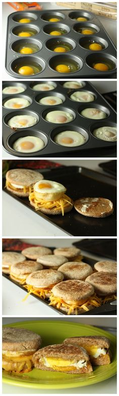 Breakfast Sandwiches - better and healthier than fast food. My eggs cooked closer to 20 min and i sprinkled bacon bits on egg before cooking. Such a perfect Saturday morning breakfast!:) Breakfast Dishes, Breakfast Recipes, Brunch Recipes, Breakfast Time, Breakfast Parties, Office Breakfast Ideas, Brunch Ideas For A Crowd, Breakfast In Muffin Tins, Easy Camping Breakfast