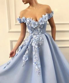 Blue Off Shoulder Flower Appliques A line Long Modest Beautiful Prom Dresses blue appliques aline flower tirdresses prom formal dresses Elegant prom dresses 2019 formal dresses for teens v neck tulle long 2019 evening dresses party gowns A Line Prom Dresses, Beautiful Prom Dresses, Ball Gown Dresses, Quinceanera Dresses, Pretty Dresses, Homecoming Dresses, Sexy Dresses, Dress Up, Dress Prom