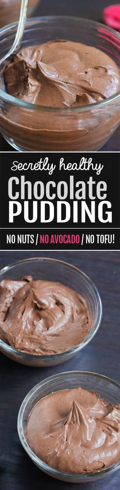 Secretly Healthy Chocolate Pudding NO Avocado! - How to make homemade healthy chocolate pudding with no avocado or tofu, just basic ingredients! A super easy recipe Paleo Dessert, Gluten Free Desserts, Dairy Free Recipes, Healthy Desserts, Delicious Desserts, Dessert Recipes, Healthy Puddings, Tofu, Chocolate Pudding Recipes