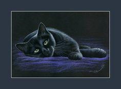 Black Cat On Purple by Irina Garmashova