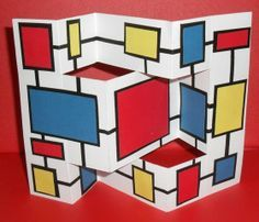 Mondrian artist books, foldable, art history, shape, geometric, pop-ups, paper engineering