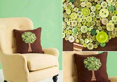 Tree Pillow: super want a pillow? Brown got him? awesome! the buttons that you put glue then brown pillow, make a crown stromu.Z substances do stem