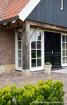 Building Design Architectuur Building Design, Architecture Design, Garage Doors, New Homes, Farmhouse, Cabin, Outdoor Decor, Home Decor, Style