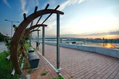 Varadin Bridge in the dawn (Photo by Aleksandar Milutinović) Novi Sad, Garden Bridge, Outdoor Structures, City, Places, Nature, Pictures, Travel, Beautiful